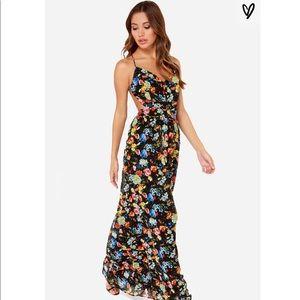Backless black floral maxi dress
